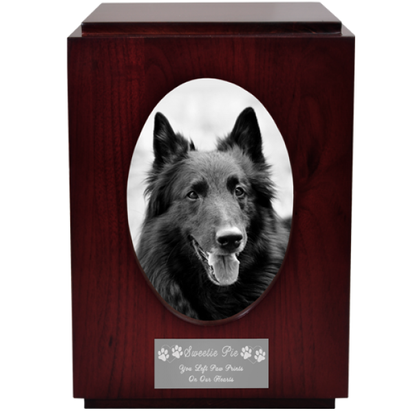 Pet Urns Pet Urns Cherry Finish Cat Urn With Oval Photo