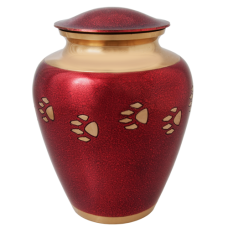 Pet Urns: Red with Brass Pawprint- Large