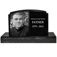 Photo Engraved Small Granite Headstone- Traditional Style 16x10.5