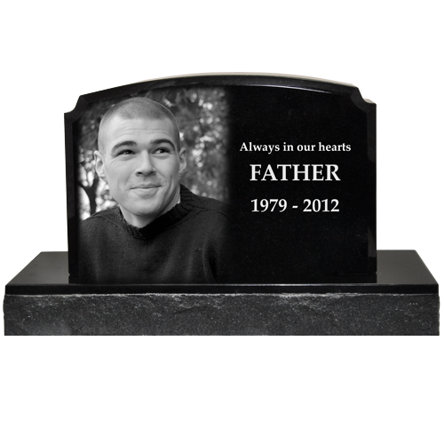 Photo Engraved Small Granite Headstone- Traditional Style 16x10.5 -  - MG-G-8x12 traditional 2 piece