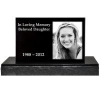 Photo Laser Engraved Granite Headstone - Classical