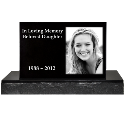 Photo Laser Engraved Granite Headstone - Classical -  - GC04-12x8, GC04-14x9 or GC04-16x10