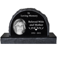 Photo Laser Engraved Granite Headstone- Scalloped