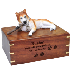 Red Husky with stick Blue Eyes Pet urn