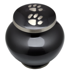 Slate and Pewter Pawprints Footed Pet Urn- Medium