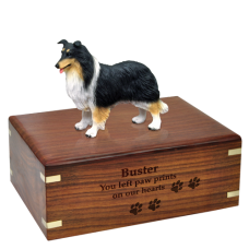Tricolor Collie Figurine Wood Urn for Pet Dog w/ Breed Figurine