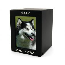 Black MDF Pet Photo Cremation Urn - Small