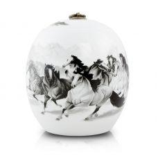 Ceramic Cremation Urn - 8 Horses