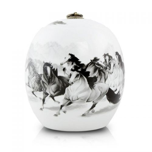 Ceramic Cremation Urn - 8 Horses -  - CT-2WL1