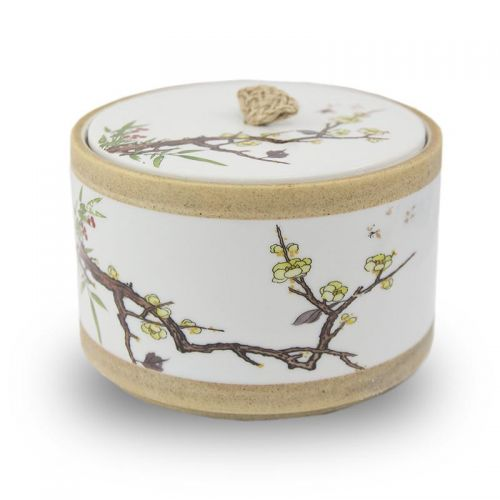 Yellow Cherry Blossoms Pet Ceramic Urn -  - CT-2WLM6