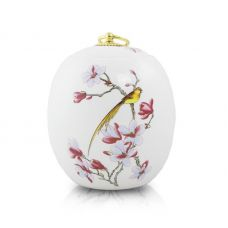 Golden Bird Ceramic Urn - Medium