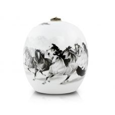 Medium Ceramic Cremation Urn - 8 Horses