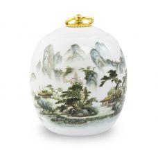 Medium Ceramic Cremation Urn - Misty Mountains