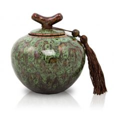 Moss Green Ceramic Cremation Urn - Medium