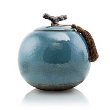 Turquoise Ceramic Cremation Urn - Large