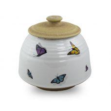 Large Ceramic Cremation Urn - Rainbow Butterflies
