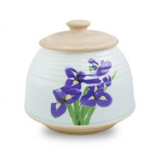 Large Ceramic Cremation Urn - Iris Bouquet