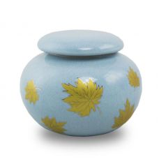 Golden Leaves Ceramic Cremation Urn Keepsake - Extra Small