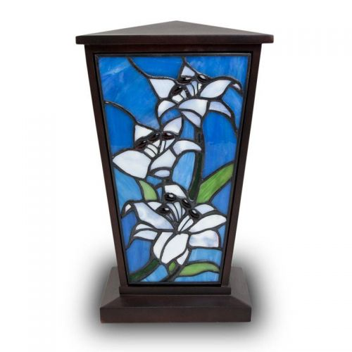 White Lily Stained Glass Cremation Urn -  - KL-1004