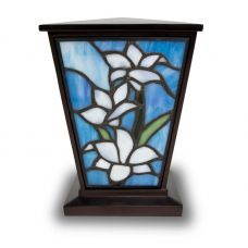 White Lily Stained Glass Medium Cremation Urn