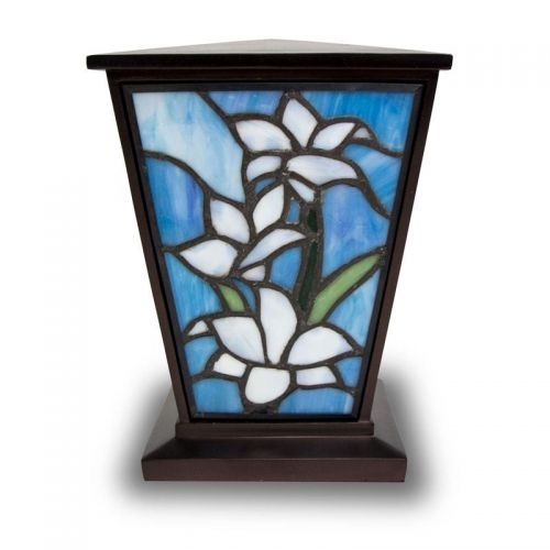 White Lily Stained Glass Medium Cremation Urn -  - KL-1004M