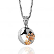 Paw Prints Cremation Pendant - Sterling Silver