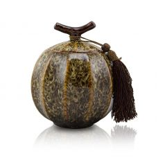 Quail Feathers Ceramic Cremation Urn for Pets