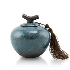 Turquoise Ceramic Cremation Urn - Extra Small