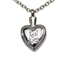 Teddy Bear Heart Cremation Pendant - Stainless Steel