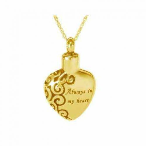 14K Gold Immortal Love Keepsake Cremation Chamber Jewelry Necklace -  - 60882