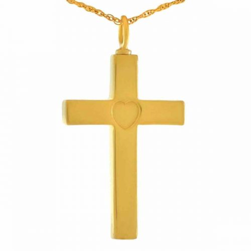 14K Heart In a Cross Gold Keepsake Cremation Chamber Jewelry Necklace -  - 78019