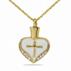 21032 heart with cross Keepsake Cremation Jewelry