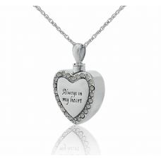 Always Steel Heart Creamtion Necklace With White Stones