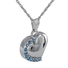 Blue Stone Heart Steel Keepsake