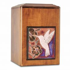 Raku Wood Hummingbird Cremation Urn