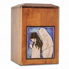 Raku Wood Angel Cremation Urn