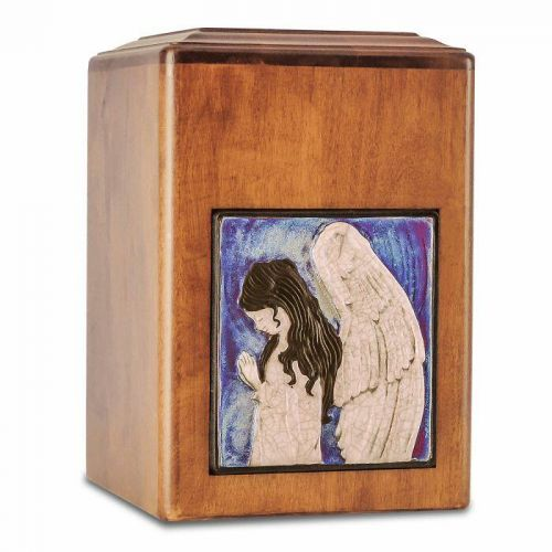 Raku Wood Angel Cremation Urn -  - 33534