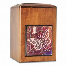 Raku Wood Butterfly Cremation Urn