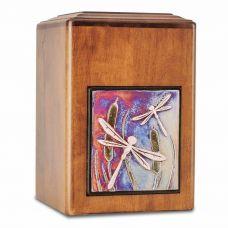 Raku Wood Dragonfly Cremation Urn