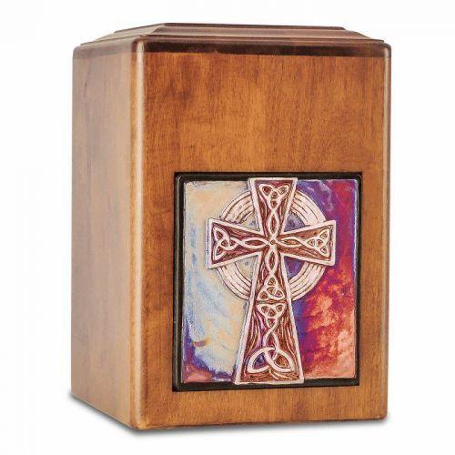 Raku Wood Cross Cremation Urn -  - 33538