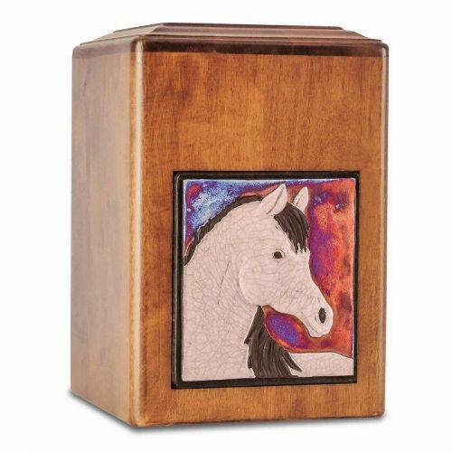 Raku Wood Horse Cremation Urn -  - 33539