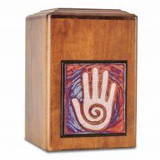 Raku Wood Hand Cremation Urn