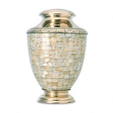 Regal Mother of Pearl Brass Urn