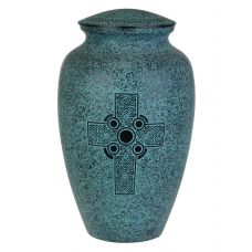 Turquoise Celtic Cross Urn