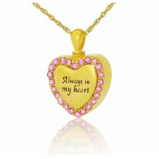 14K Gold Pink Gleaming Heart Creamtion Pendant