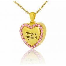 14K Gold Pink Gleaming Heart Creamtion Pendant