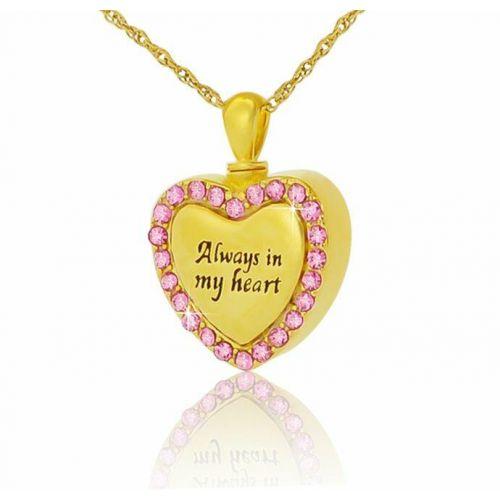 14K Gold Pink Gleaming Heart Creamtion Pendant -  - 44717