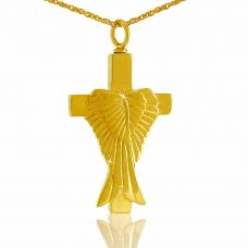 Angel's Cross 14K Gold Pendant Cremation Chamber Jewelry Necklace