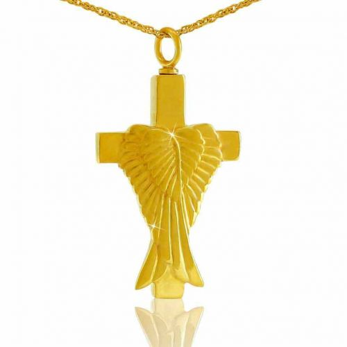 Angel s Cross 14K Gold Pendant Cremation Chamber Jewelry Necklace -  - 74009