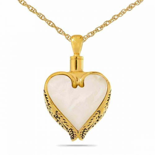 Angel Wings Mother of Pearl Gold Pendant Urn -  - 9959